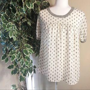 POTTER'S POT Gray/Cream Polka Dot Bouse Size S